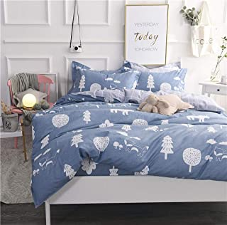 Abojoy Forest Duvet Cover Sets Tree Dandelion Mushroom Fox Woods 300TC Cotton Luxury Soft Reversible Bedding Set for Boys Girls Kids 3pc - 1 Duvet Cover with Zipper Closure 2 Pillowcases, No Comforter