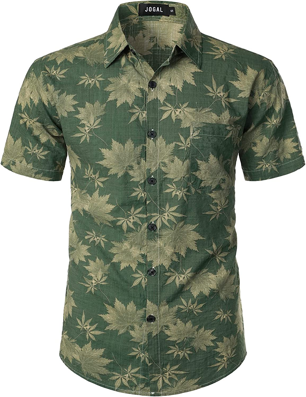 JOGAL Men's Flower Short Sleeve Button Down Hawaiian Shirt