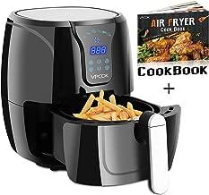 VPCOK 3.7-Quart XL Air Fryer with Recipes, 6 Cooking Presets, 1300 Watt, Power Air Fryer XL, 2-Year Warranty