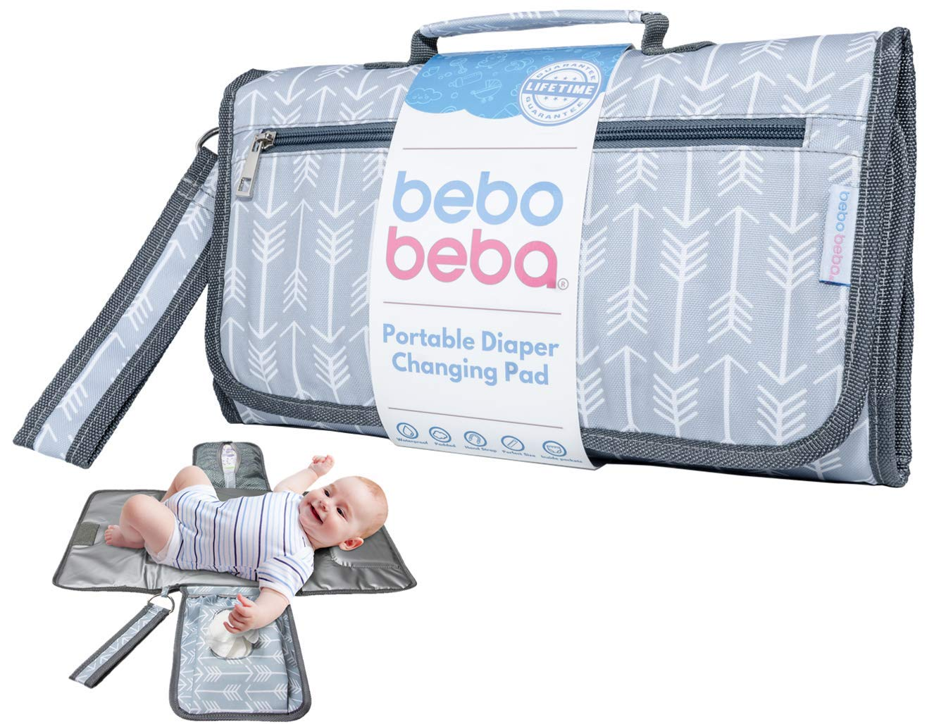 Baby Portable Changing Pad   Waterproof   Foldable Pad with Stroller Strap & Pocket for Diapers & Wipes   Changing Organizer Bag for Toddlers Infants & Newborns   Perfect Baby Shower Gift