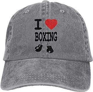 Unisexo Gorras de béisbol/Sombrero, I Love Boxing Cowboy Cap Adjustable Trucker Baseball Hats Gray