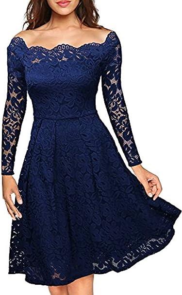 Yigoo Festliche Elegant Kleider Damen Festlich Hochzeit Spitzenkleider Vintage Abendkleid Schulterfrei Cocktailkleid A Linie Knielang Langarm S 3xl Amazon De Bekleidung