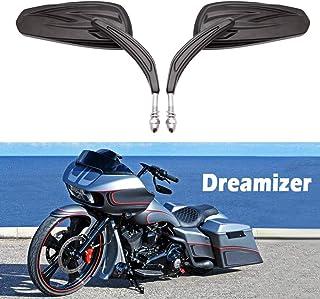 Motorrad Rückspiegel, 8mm Motorrad Spiegel für Sportster XL883 1200 Fatboy Dyna Softail Fat Bob Street Glide Electra Glide Road Glide