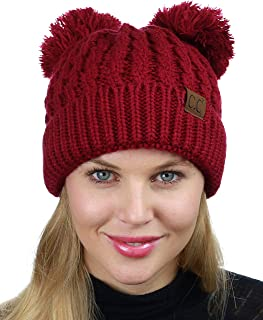 2bc9f1de620e C.C 2 Ear Pom Pom Cable Knit Soft Stretch Cuff Skully Beanie Hat