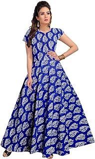 Trendy Fab Women's 100% Cotton Half Sleeve Gown Royal Blue