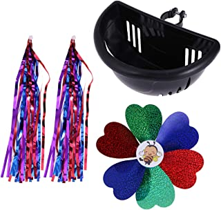 LIOOBO 3PCS Kids Bike Scooter Decoration Handlebar Colourful Streamers Flower Pinwheel Windmill Basket Baby Kids Bike Accessories (Black)
