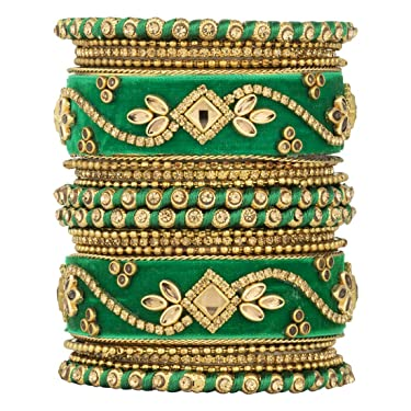 Aheli Ethnic Wedding Wear Handmade Faux Stone Studded Velvet Bangle Set Saree Matching Chuda Indian Bollywood Fashion Jewelry for Women (Green)