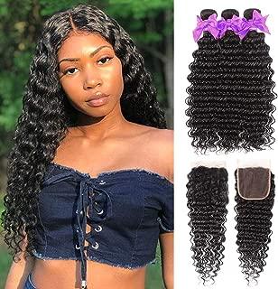 Miss CARA Brazilian Virgin Hair Deep Wave Bundles with Closure 100% Unprocessed Deep Curly Human Hair Bundles (16 18 20 +14) Brazilian 3 Bundles Free Part Natural Color
