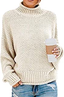 Womens Fall Winter Relaxed Jumper Knit Plus-Size Turtleneck Pullover