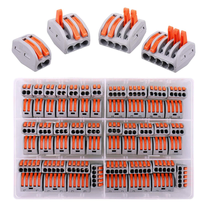 80 piezas conectores eléctricos rapidos con palanca de operación, 20 terminales de 2 vías, 30 terminales de 3 vías, 10 terminales de 4 vías, 20 terminales de 5 vías
