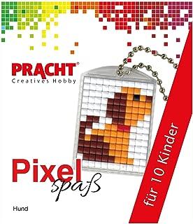 Pracht Creatives Hobby P90058-01501 – Juego de manualidades para 10 niños, con 10 medallones con diseño de pixels, para niños y niñas, cumpleaños infantil, manualidades por la tarde, escuelas y kitas