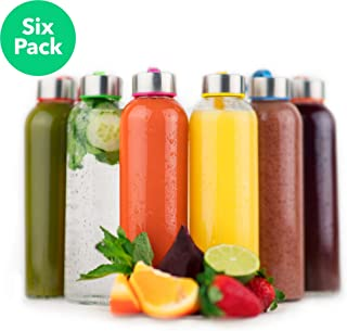 Vremi 6 Pack Water Bottle-18 oz Drinking Bottles with Stainless Steel Lids for Juicing and Beverage Storage - Dishwasher Safe Clear Glasses Screw Caps Colored Carrying Loops & Cleaning Brush