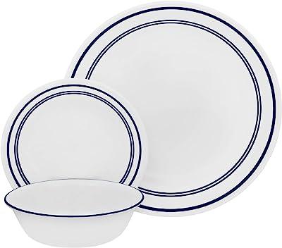 Amazon Com Corelle 18 Piece Service For 6 Chip Resistant Classic Café Blue Dinnerware Set Dinnerware Sets