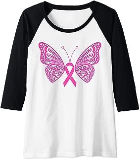 Womens Breast Cancer Awareness Pink Ribbon Tribal Butterfly Tattoo Raglan Baseball Tee