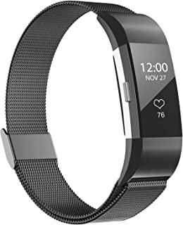 iGK Replacement Bands Compatible for Charge 2, Stainless Steel Metal Bracelet with Unique Magnet Clasp