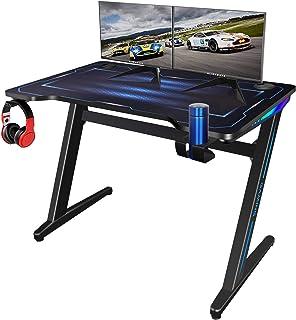 Bureau Gaming, Bureau Gamer avec LED Lights Bureau pour Gaming PC Table Desk avec Tapis Souris Porte Gobelet Support 100 *...