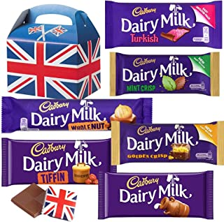 Cadbury Chocolate Bars - The big Chunky Selection of Cadbury UK Chocolate. 6 FULL SIZE Chocolate bars of delicious Cadbury Chocolate from the UK with unique Gift Box and a free British Chocolate.