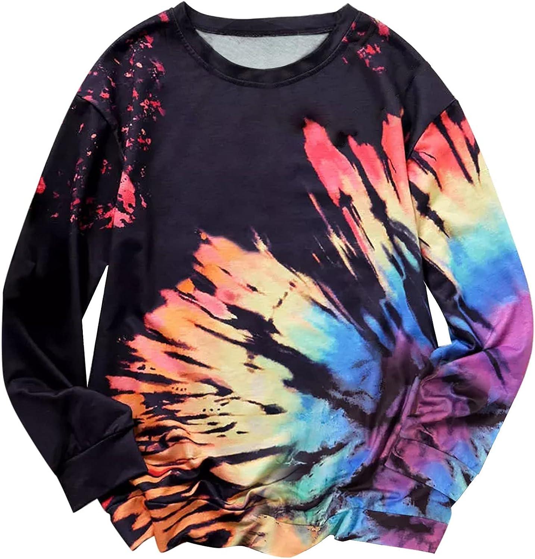 HONGJ Womens Girls Fashion Long Sleeve Sweatshirts Color Block Tie Dye Casual Loose Crewneck Pullover Tops T-shirts