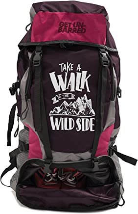 Mufubu Presents Get Unbarred 55 LTR Rucksack for Trekking, Hiking with Shoe Compartment (Dark Red/Coral)