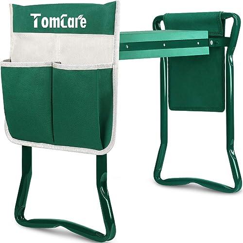TomCare Garden Kneeler Seat Garden Bench Garden Stools Foldable Stool with Tool Bag Pouch EVA Foam Pad Outdoor Portab...