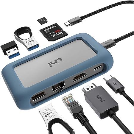 uni Hub USB C 8 in 1, USB C Hub con connettore Rimovibile e Custodia in Silicone, Supporta Ricarica da 100 W, 4K HDMI e Altro, Compatibile con iPad PRO 2018, MacBook, Galaxy S20, Nota 10 e Altro