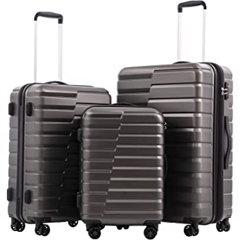 COOLIFE Luggage Expandable Suitcase PC+ABS 3 Piece Set with TSA Lock Spinner Carry on new fashion design (gray, 3 piece set)