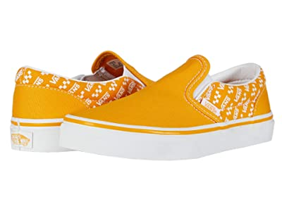 Vans Kids Classic Slip-On (Little Kid) ((Logo Repeat) Cadmium Yellow/True White) Kids Shoes