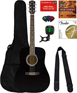 Fender Squier Dreadnought Acoustic Guitar - Black Bundle with Gig Bag, Tuner, Strap, Strings, Picks, Instructional Book, and Austin Bazaar Instructional DVD