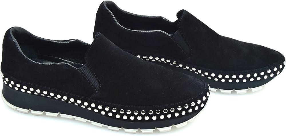 prada, scarpa sneakers slip on per donna ,in camoscio,numero 38 eu 3s6132