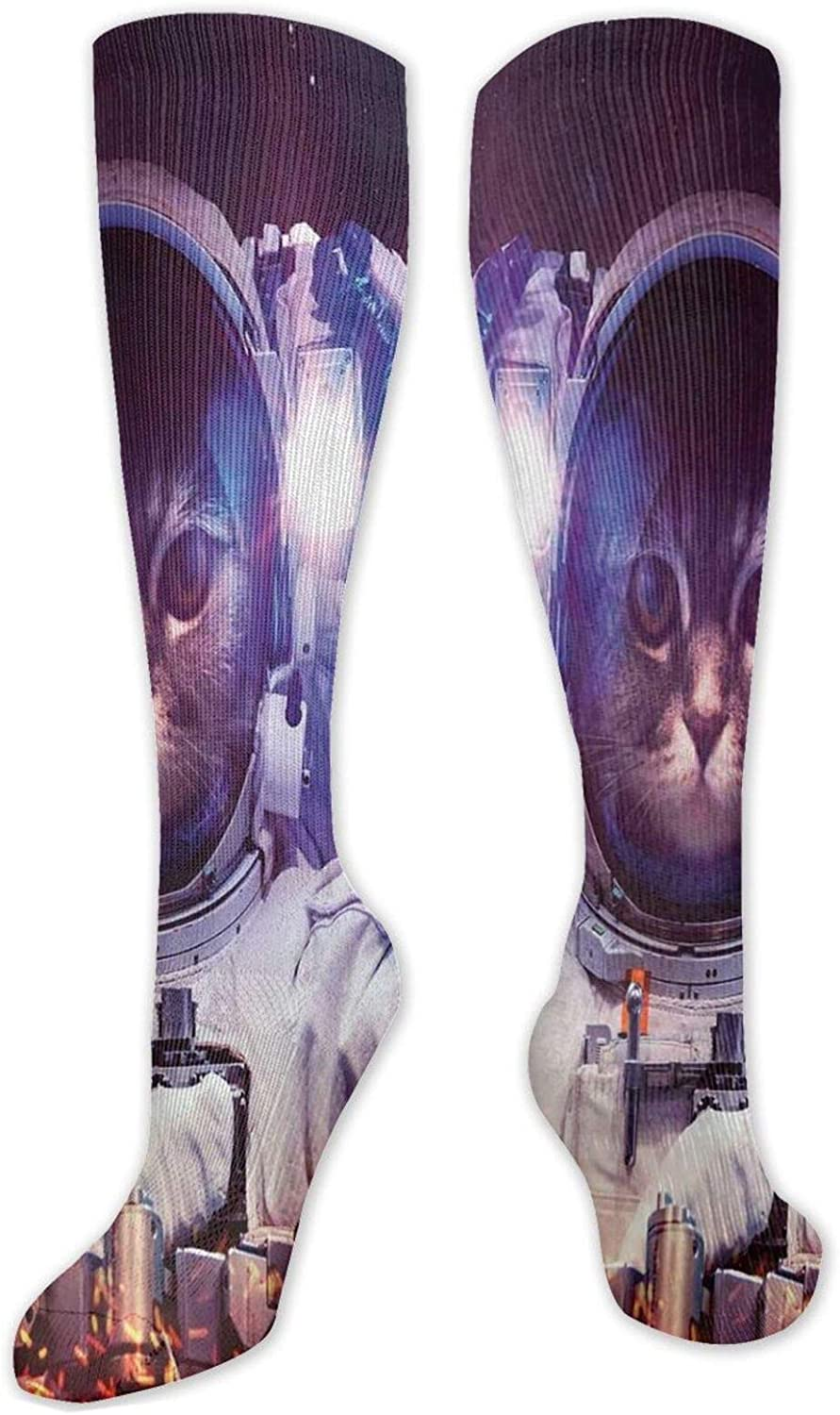 Compression High Socks Astronaut Cat Suit Nebula Outer New sales Space In Direct store
