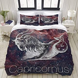 """Mokale Bedding Duvet Cover 3 Piece Set Astrological Constellation Capricorn Vintage Horoscope Drawing of The Galaxy Sky Decorative Hotel Dorm Comforter Cover with 2 Pollow Shams King 104""""X90"""""""