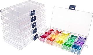 جعبه سازنده طلا و جواهر پلاستیکی UOONY 6pack 15 Grids با تقسیم کننده قابل تنظیم ظرف ذخیره سازی پاک شده برای صنایع دستی مهره ها لوازم ماهیگیری با برچسب های برچسب 400 عدد