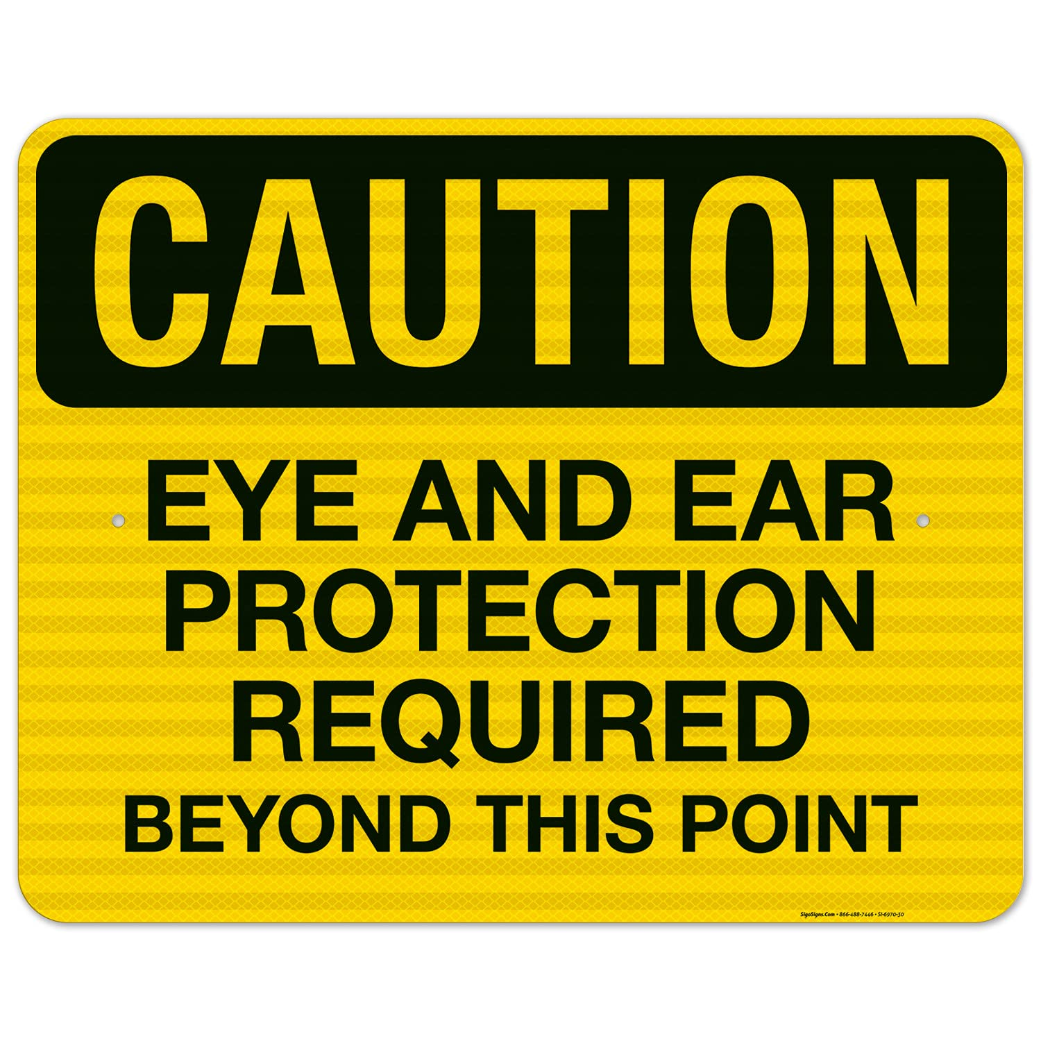 Caution Eye and Ear Protection Limited time cheap sale Required E Sign 24x30 3M service Inches