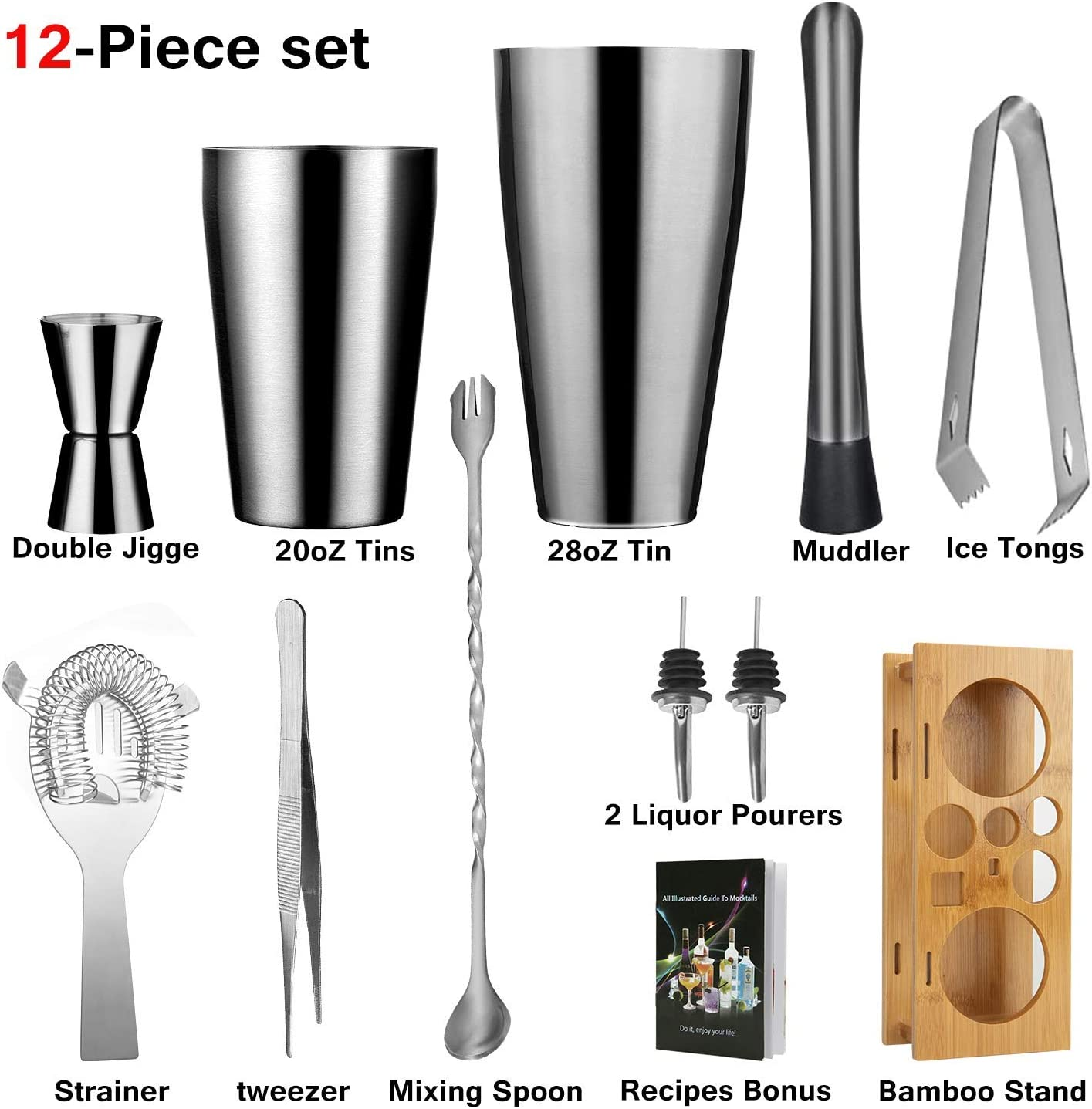 Exclusive Recipes Bonus Boston Cocktail Shaker Bar Tools Set With Bamboo Stand,28oz//20oz Shaker Set Perfect Bartending Kit for Professional and Amateur Bartenders