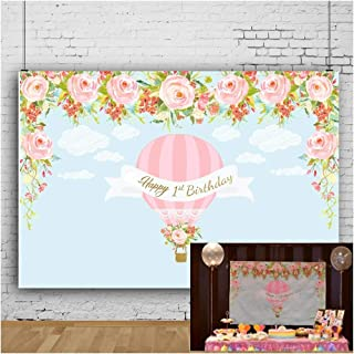 OFILA Baby Girls 1st Birthday Backdrop 7x5ft Hot Air Balloons Theme Birthday Party Decoration Happy 1st Birthday Background Flowers Clouds Baby Birthday Portraits Digital Video Studio Props
