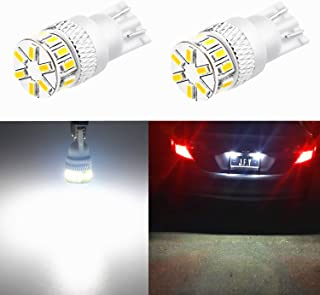 Best Alla Lighting T10 194 LED Bulb 4014 18-SMD Xtremely Super Bright T10 Wedge LED 194 168 175 2825 W5W 6000K White 12V 194 W5W Bulb for 194 License Plate Tag Back-Up Reverse Light Lamp Bulbs (set of 2) Review