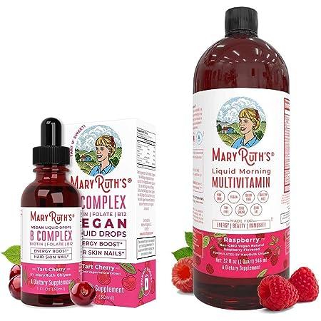 Liquid Vitamin B Complex & Morning Multivitamin Bundle by MaryRuth's   Liquid Morning Multivitamins (Raspberry), 32oz   B Complex Liquid (Tart Cherry), 1oz   Vegan, Non-GMO