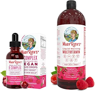 Liquid Vitamin B Complex & Morning Multivitamin Bundle by MaryRuth's | Liquid Morning Multivitamins (Raspberry), 32oz | B ...