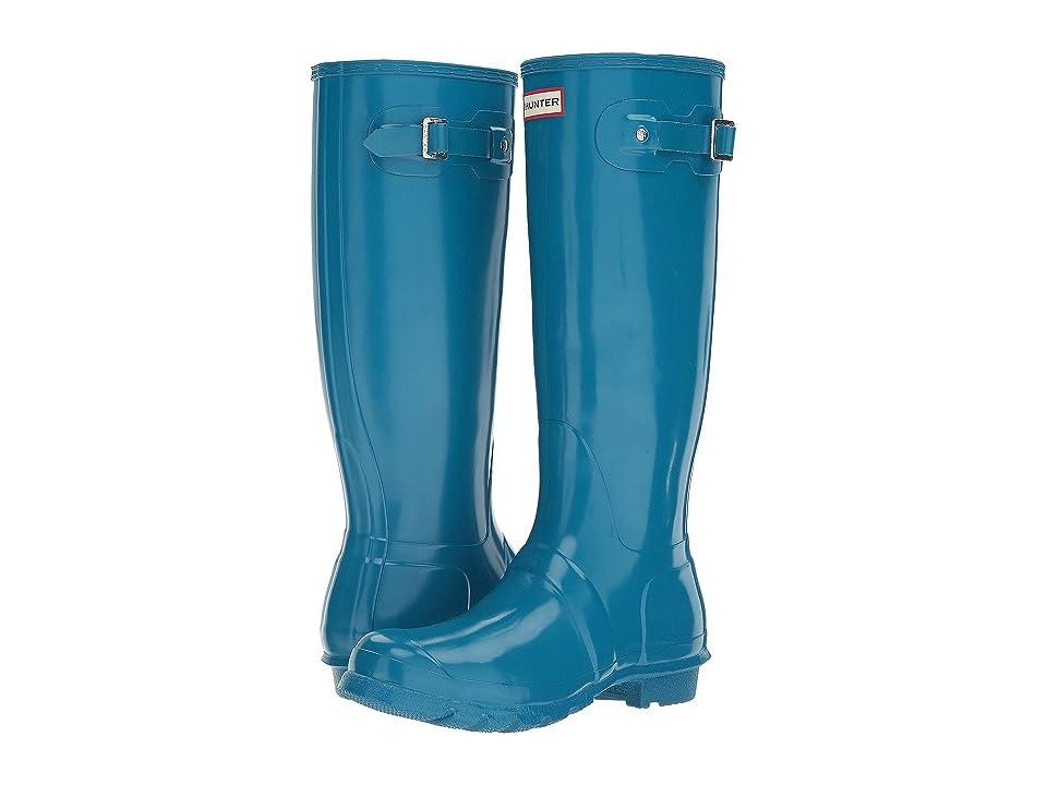 Hunter Original Tall Gloss Rain Boots (Ocean Blue) Women