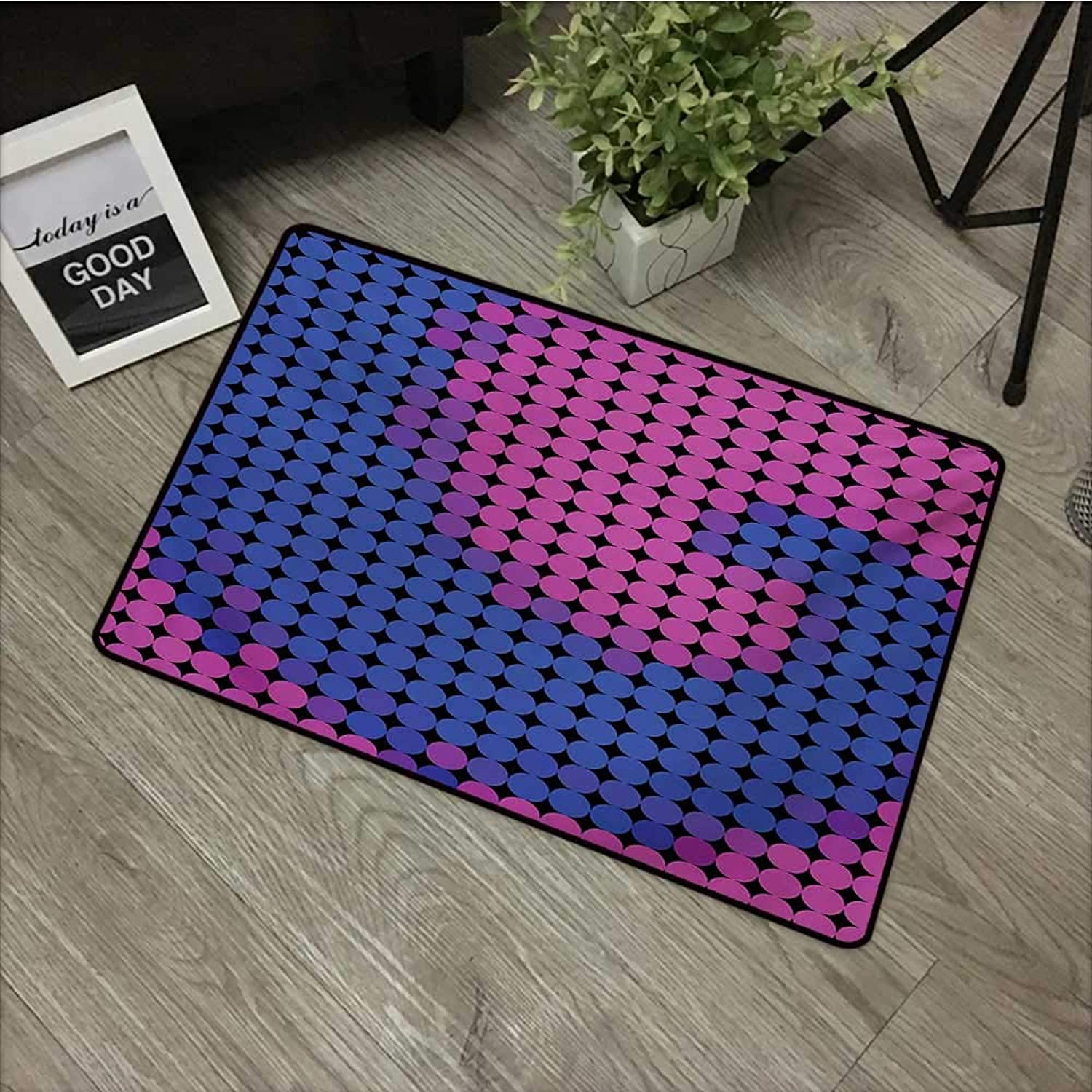 Bedroom Door mat W35 x L59 INCH Spires,Spiral Background with Pixel Dotted Flat Design Odd Gradient Artistic Style Print,Pink bluee Non-Slip, with Non-Slip Backing,Non-Slip Door Mat Carpet