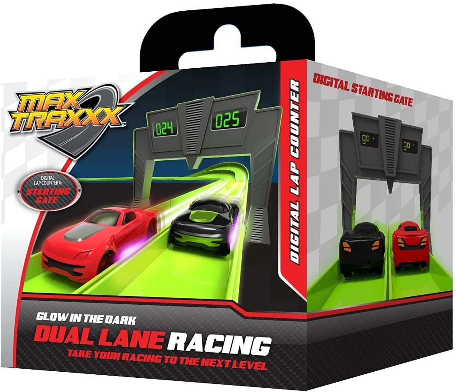 Max Traxxx R C Tracer Racers High Speed Remote Control Race Track Digital Lap Counter
