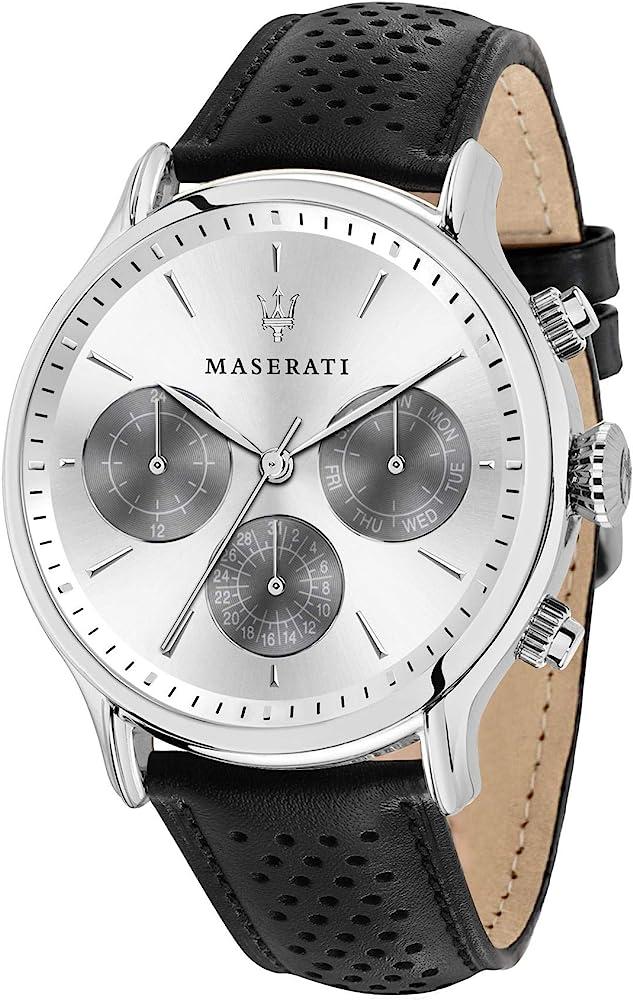 Maserati orologio uomo con cinturino in pelle ,acciaio inossidabile,multi-quadrante 8033288813675