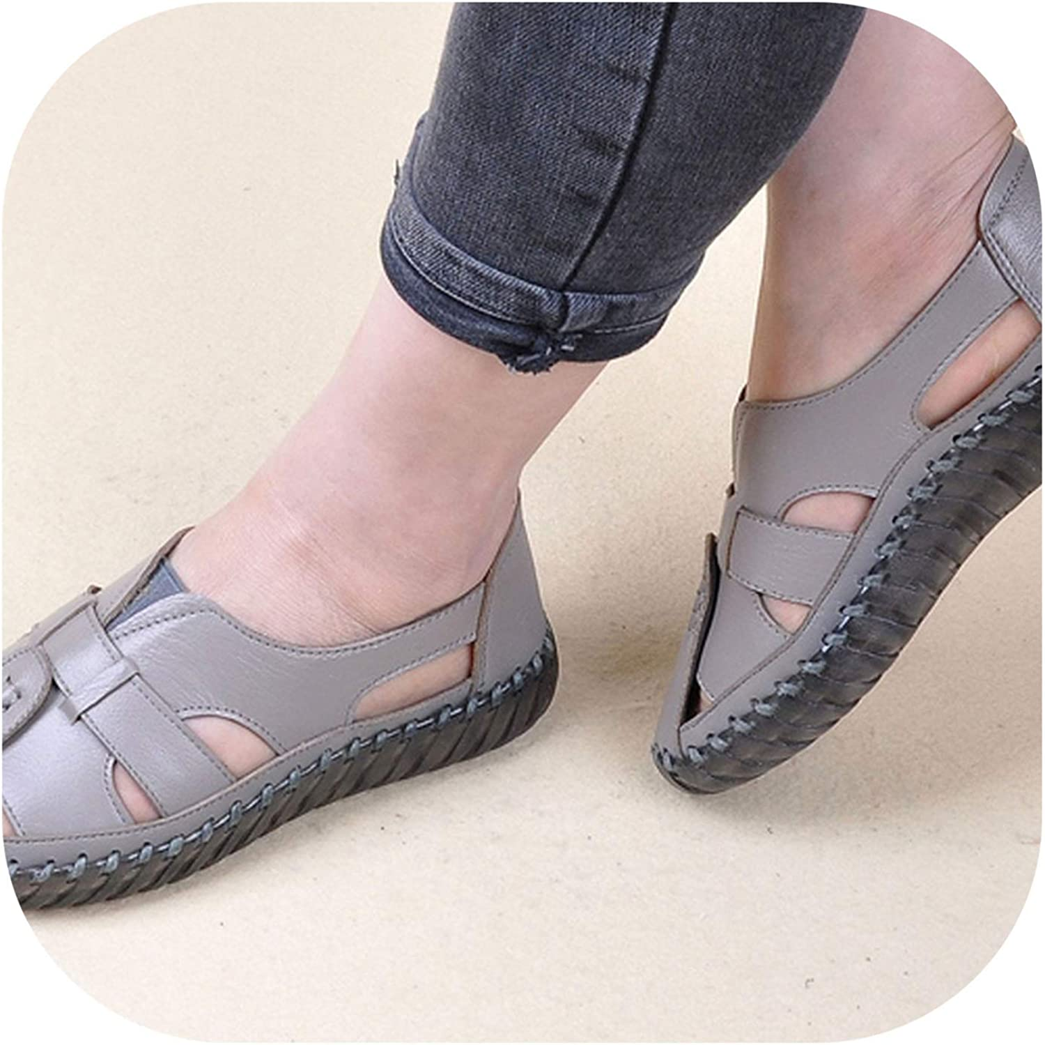 HANBINGPO Women's Sandals 2019 Summer Genuine Leather Handmade Leather Flats Retro Style Mother shoes