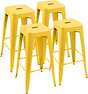 Furniwell 30 Inches Metal Bar Stools High Backless Tolix Indoor-Outdoor Stackable Barstool with Square Counter Seat Set of 4 (Yellow)