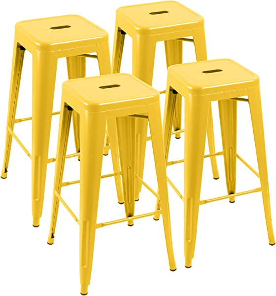 Furniwell 30 Inches Metal Bar Stools High Backless Tolix Indoor Outdoor Stackable Barstool With Square Counter Seat Set Of 4 Yellow