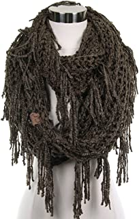 ScarvesMe Vintage Knitted Double Loop Circle Infinity Scarf with Fringe