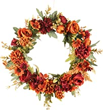 "Cool-impression 15.7"" Fall Wreath for Front Door Artificial Wreath Beautiful Rose Fall Wreath Decoration Garland for Thank..."