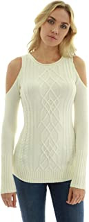 PattyBoutik Women Cold Shoulder Cable Knit Sweater