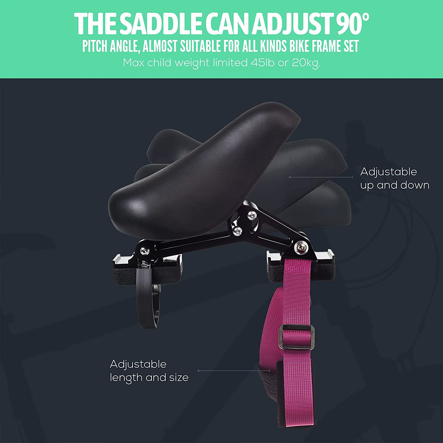 KINGBIKE Kids MTB Child Seat Bike Accessories Outdoor Travel Bicycle Grips for Children's Kids Mountain Bike-Easy to Install and Remove