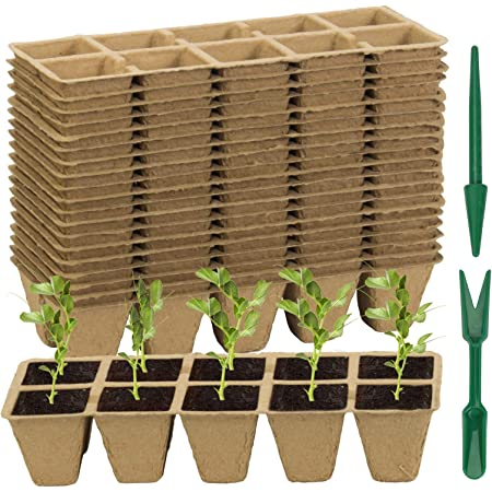 200 Cells Seed Starter Tray, ZOUTOG Organic Peat Pots for Seedlings -10 Cells Per Seed Tray, Seedling Starter Tray with Holes, Biodegradable Seed Starter Kits for Indoor Outdoor Plants, 20 Pack